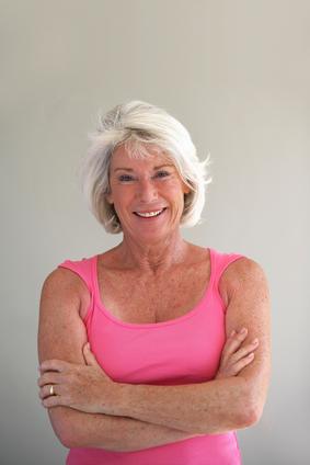 dentures on elderly woman